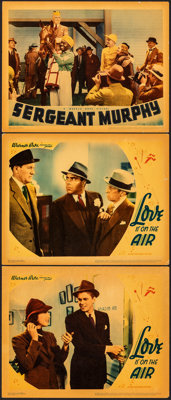 "Love is on the Air & Other Lot (Warner Bros., 1937). Fine/Very Fine. Linen Finish Lobby Cards (3) (11"" X 14..."