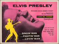 "Love Me Tender (20th Century Fox, 1956). Folded, Very Fine. British Quad (30"" X 40""). Elvis Presley"