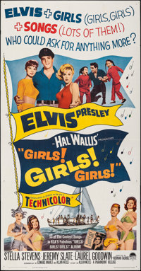 "Girls! Girls! Girls! (Paramount, 1962). Folded, Very Fine-. Three Sheet (41"" X 79""). Elvis Presley"