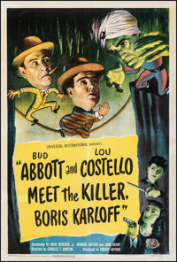 "Abbott and Costello Meet the Killer, Boris Karloff (Universal International, 1949). Fine on Linen. One Sheet (27"" X..."