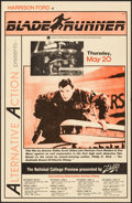 """Movie Posters:Science Fiction, Blade Runner (Warner Bros., 1982). Folded, Fine/Very Fine. College Theater Window Card (11"""" X 17""""). Science Fiction.. ..."""