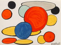 Alexander Calder (1898-1976) Red Sphere and Forms, 1975 Lithograph in colors on paper 22 x 30 inc