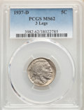 Buffalo Nickels, 1937-D 5C Three-Legged MS62 PCGS. PCGS Population: (419/640). CDN: $2,000 Whsle. Bid for NGC/PCGS MS62. ...