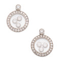 Estate Jewelry:Earrings, Diamond, White Gold Earrings, Chopard. ...
