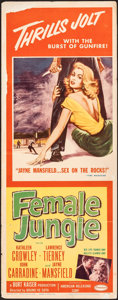 "Movie Posters:Film Noir, Female Jungle & Other Lot (American Releasing Corp., 1956). Folded, Overall: Fine+. Inserts (2) (14"" X 36""). Film Noir.. ... (Total: 2 Items)"