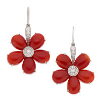 Coral, Diamond, White Gold Earrings