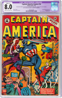 Captain America Comics #16 (Timely, 1942) CGC Apparent VF 8.0 Cream to off-white pages