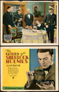 """Movie Posters:Mystery, The Return of Sherlock Holmes (Paramount, 1929). Fine+. Trimmed Title Lobby Card & Trimmed Lobby Card (Approx. 11"""" X 14"""").. ... (Total: 2 Items)"""
