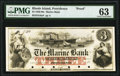 Providence, RI- Marine Bank $3 18__ G6a as Durand 1535 Proof PMG Choice Uncirculated 63