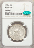 1936 50C Norfolk MS67+ NGC. CAC. NGC Census: (704/95). PCGS Population: (1185/212). CDN: $350 Whsle. Bid for problem-fre...