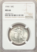 Walking Liberty Half Dollars: , 1944 50C MS66 NGC. NGC Census: (930/89). PCGS Population: (1432/132). MS66. Mintage 28,206,000. ...
