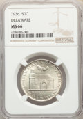 1936 50C Delaware MS66 NGC. NGC Census: (508/108). PCGS Population: (788/156). MS66. Mintage 20,993