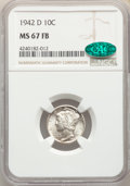 Mercury Dimes: , 1942-D 10C MS67 Full Bands NGC. CAC. NGC Census: (684/15). PCGS Population: (612/40). CDN: $140 Whsle. Bid for problem-free...
