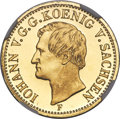 German States:Saxony, German States: Saxony. Johann gold Proof 1/2 Krone 1857-F PR65 Ultra Cameo NGC,...