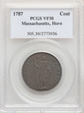 1787 CENT Massachusetts Cent, Horned Eagle, VF30 PCGS. PCGS Population: (15/54). NGC Census: (4/25). ...(PCGS# 305)