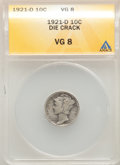 1921-D 10C VG8 ANACS. With an obverse die crack. CDN: $95 Whsle. Bid for problem-free NGC/PCGS VG8 . Mintage 1,080,000...