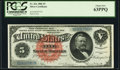 Large Size:Silver Certificates, Fr. 261 $5 1886 Silver Certificate PCGS Choice New 63PPQ.. ...