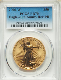 2006-W $50 One-Ounce Gold Eagle, 20th Anniversary, Reverse Proof, PR70 PCGS....(PCGS# 89994)