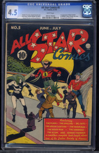 All Star Comics #5 (DC, 1941) CGC VG+ 4.5 White pages