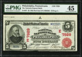 National Bank Notes:Pennsylvania, Philadelphia, PA - $5 1902 Red Seal Fr. 587 The National Deposit Bank Ch. # (E)7929 PMG Choice Extremely Fine 45.. ...