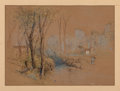 Works on Paper, Samuel Colman (American, 1832-1920). A Walk Along the Creek. Watercolor and ink on paper. 6-1/4 x 8-3/4 inches (15.9 x 2...