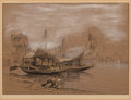 Works on Paper, Samuel Colman (American, 1832-1920). Along the Shore. Ink and watercolor on paper. 6-3/4 x 9 inches (17.1 x 22.9 cm) (si...