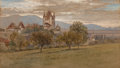 Works on Paper, Samuel Colman (American, 1832-1920). Schloss Thun Castle, Switzerland. Watercolor and ink on paper. 7-3/4 x 13-1/2 inche...