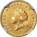 Gold Dollars, 1855-C G$1 -- Cleaned -- NGC Details. AU. Variety 1....