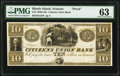 Scituate, RI- Citizens Union Bank $10 18__ G34 as Durand 2117 Proof PMG Choice Uncirculated 63