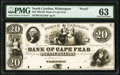 Obsoletes By State:North Carolina, Wilmington, NC- The Bank of Cape Fear $20 18__ G136 Proof PMG Choice Uncirculated 63.. ...