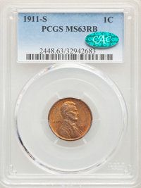 1911-S 1C MS63 Red and Brown PCGS. CAC. PCGS Population: (117/384). NGC Census: (46/188). CDN: $350 Whsle. Bid for probl...