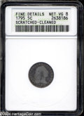 Early Half Dimes: , 1795 H10C--Scratched, Cleaned--ANACS. Fine Details, Net VG8....