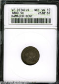 Early Half Dimes: , 1800 H10C LIBEKTY--Damaged, Bent--ANACS. VF Details, Net VG10....