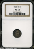 Seated Half Dimes: , 1864 H10C MS62 NGC....