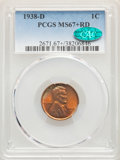 1938-D 1C MS67+ Red PCGS. CAC. PCGS Population: (468/1). NGC Census: (803/1). CDN: $95 Whsle. Bid for problem-free NGC/P...