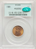 1901 1C MS65 Red PCGS. CAC. PCGS Population: (238/95). NGC Census: (126/30). MS65. Mintage 79,611,144