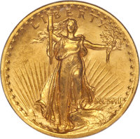 1907 $20 High Relief, Wire Rim MS62 PCGS. Gold CAC....(PCGS# 9135)