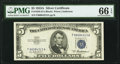 Small Size:Silver Certificates, Fr. 1656 $5 1953A Silver Certificate. PMG Gem Uncirculated 66 EPQ.. ...