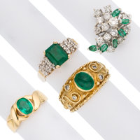 Emerald, Diamond, Gold Rings ... (Total: 4 Items)