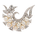Estate Jewelry:Brooches - Pins, Diamond, Cultured Pearl, White Gold Brooch . ...