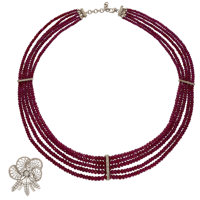 Ruby, Diamond, Platinum, Gold Pendant-Necklace ... (Total: 2 Items)