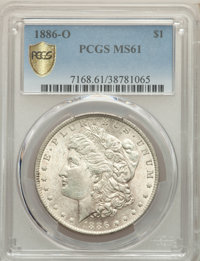 1886-O $1 MS61 PCGS. PCGS Population: (524/1776 and 0/69+). NGC Census: (621/962 and 6/20+). CDN: $1,050 Whsle. Bid for...
