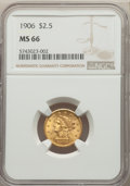Liberty Quarter Eagles: , 1906 $2 1/2 MS66 NGC. NGC Census: (265/81). PCGS Population: (292/89). MS66. Mintage 176,300. ...
