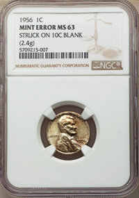 1956 1C Lincoln Cent -- Struck on a Dime Blank -- MS63 NGC. 2.4 grams
