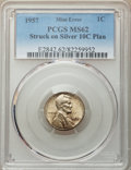 1957 1C Lincoln Cent -- Struck on a Silver Dime Planchet -- MS62 PCGS