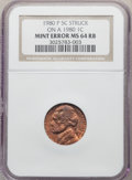 1980-P 5C Jefferson Nickel -- Struck on a 1980 Cent -- MS64 Red and Brown NGC
