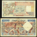 Algeria Banque de l'Algerie 5000; 10,000 Francs 4.7.1947; 2.2.1956 Pick 105; 110 Two Examples Fine. ... (Total: 2 notes)