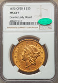 1873 $20 Open 3 MS61+ NGC. CAC. Ex: Granite Lady Hoard. NGC Census: (2509/1078 and 44/62+). PCGS Population: (2457/1895...