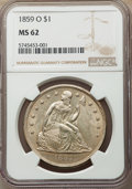 Seated Dollars: , 1859-O $1 MS62 NGC. NGC Census: (109/60). PCGS Population: (140/102). MS62. Mintage 360,000. ...