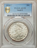 Bust Half Dollars, 1818/7 50C Small 8 AU53 PCGS. PCGS Population: (14/56). NGC Census: (11/74). CDN: $1,300 Whsle. Bid for problem-free NGC/PC...
